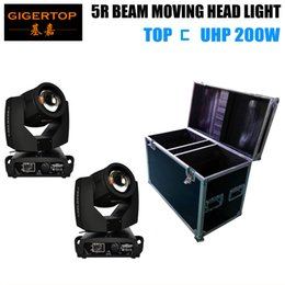 Wholesale optic glasses - 2IN1 Road Case Packing with 2XLOT 5R 200W Lamp 200W Moving Head Light,5R Beam 3-layer Optic Glass Lens Taiwan Sunon Cooling Fan