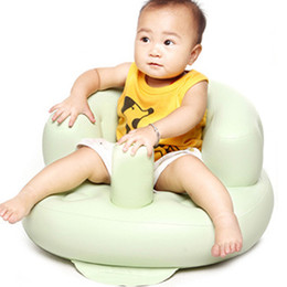 Wholesale Pvc Beach Chairs - Wholesale- Built-in Pump Portable Baby Bath Sand And Dabbling Chair Inflatable Cute PVC Toy Doll Nursing Gaming Beach Bathing Seat BB0117