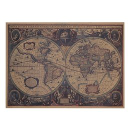 Wholesale Old Style Poster - 72 X 47.5m Large Classical Style Retro Paper Poster Old World Map Home Decor Stickers Art Word Map Paper Poster Wallpapers
