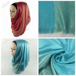 Wholesale Silk Muslim Hijab - 100 PCS Muslim Silk Scarfs Winter Wraps Foulard Viscose Hijabs Scarves shawls Hijab Scarves Long Scarf Half Silver Glitter 29 colors YYA444