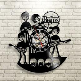 Wholesale Music Vinyl Wall Art - Wholesale-New Arrival Vinyl Record Wall Clock The Beatles Music Nursery Art CD Clock Watch Creative Duvar Saati Horloge Home Decorative