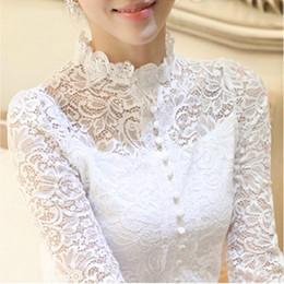 Wholesale Sheer Lace Crochet Top - New 2016 Autumn Plus Size Women Retro Crochet Blouse Lace Sheer Shirts Tops For Women Clothing Vestidos Blusas Femininas Blouses