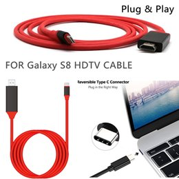Wholesale Stereo Adapter Cable - Type c HDTV Cable 2m 6FT Dock to HDMI HDTV TV Adapter USB Cable 1080P For Samsung Galaxy S8 with retail box