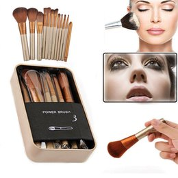 Wholesale Synthetic Hair Wholesale Prices - lowest price hot new NUDE #3 12 Pcs set Makeup brushes with Iron box