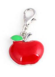 Collana di pendente rossa della mela online-20pcs / lot Charms ciondolo galleggiante mela rossa con chiusura aragosta adatta per la realizzazione di braccialetti collana medaglione