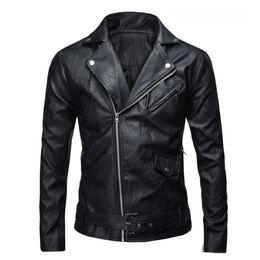 Wholesale Men S Leather Parkas - Wholesale- 2017 PU Leather Jacket Men Basic Coat Wool Leather Men's Jackets Slim Leather Motorcycle Jackets Trench Parkas Plus Size XXXL
