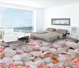 Wholesale Plastic Tile Floors - 3d floor photo wallpaper Custom floor tiles Water in the goose soft stone goldfish 3d mural wallpaper for living room pvc flooring roll