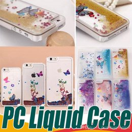 Wholesale Butterfly S6 - For iPhone 6 6S Plus 5 5S Butterfly Liquid Case Luxury Quickstand Glitter Transparent Hard Cover For Samsung S6 Edge Note 3 4 Clear PC Cases