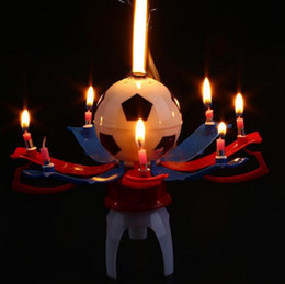 Wholesale Happy Birthday Candles Wholesale - Musical candle Rotating Spin Trophy Football Soccer Birthday Celebration Candles Cake Topper Happy Birthday Candles with 8 Candle Lights