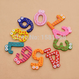 Wholesale X Mas Baby - Wholesale- 1set X mas Gift Set 10 Number Wooden Fridge Magnet Education Learn Cute Kid Baby Toy YKS