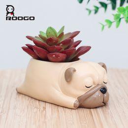 Wholesale Bonsai Cartoon - Roogo Cartoon Pug Dog Decorative Bonsai Pots Resin Animal Succulent Flower Pot Home Decor Crafts Garden Plants Container