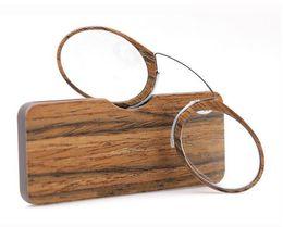 carteras de madera Rebajas Nuevo Carpeta de impresión de madera Gafas de lectura Clip pegajoso Gafas de lectura de nariz Con caja TR card + 1.0 + 1.5 + 2.0 + 2.5 + 3.0 + 3.5