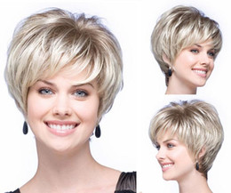 Wholesale Hairstyles For Girls - Girl Short Straight Blonde Synthetic Pixie Cut Hairstyle For Women Wigs Hair New Arrive