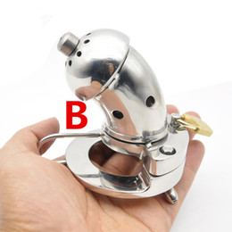 Wholesale Types Male Chastity Devices - Male Chastity Cage Tubes Chastity Cage Stainless Steel Cock Cage Metal Lock Bending Open Type Male Chastity Device Sex Product for Men G215