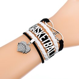 Wholesale Jewerly Bracelet Wholesale - Infinity Love Braided Bracelets in Sliver Charm Bracelets Jewerly With Casual Basketball Letters Rhinestone Pendant