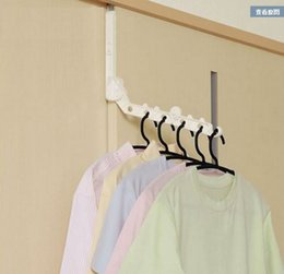 Wholesale window dressings - 6 Hole Foldable Clothes Rack Multi Function High Quality Plastic Hangers Save Space Behind Door Window Frame Tool 6 7yh D R