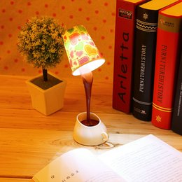 Wholesale Pour Home - Wholesale- Creative DIY Coffee Cup Lampshade LED Down Night Lamp Home USB Battery Pouring Table Light for Study Room Bedroom Decoration