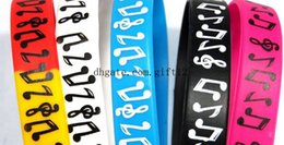 Wholesale Popular Silicone Wristbands - mix 50PCS Lot Popular Music Notes Wristband Silicone Promotion Gift Filled In Color Bracelet