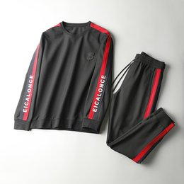 Wholesale Training Suits For Men - 2017 fall new luxury black tracksuits for men ~ men s designer long sleeve tracksuits sportswear jogging track suit ~ sweat training suits