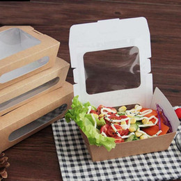 Wholesale Wholesale Hamburger Boxes - 100pcs lot Oil Proof Food Grade Kraft Paper Box With Window Party Salad Box Fruit Take Out Packaging Box Free Shipping