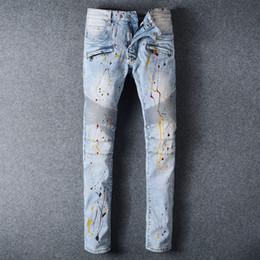 2019 mens 32 jean Novo jeans para homens angustiado moto motociclista denim jeans biker slim fit algodão calça jeans calças dos homens mens 32 jean barato