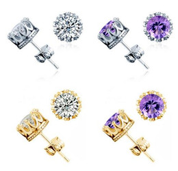 Wholesale Gold Silver Stainless Steel Cross - 2017 New Arrival Top quality silver Crown couples Stud Earring for man and women set with crystal