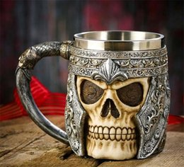 Wholesale Gothic Cup - 3D Striking Skull Warrior Tankard Viking Skull Beer Mug Double Wall Stainless Steel Gothic Helmet Drinkware Vessel Personalized Drinking Cup