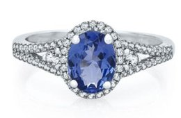 Wholesale Tanzanite Solitaire Ring - Tanzanite & 1 3 ct Natural Diamond Ring in 10K White Gold