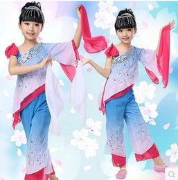 Wholesale Children Dressed Traditional Clothing - Q228 Chinese Yangko Dance Dress for Girl children National fan Dance Costumes Chinese Traditional Folk Waist Drum Clothing 18
