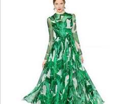 Wholesale Chiffon Dress Long Scarf - 2017 spring and autumn section of the banana leaf positioning printing long-sleeved women's dress flowing elegant big dress to send scarves
