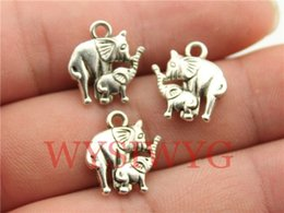 Wholesale Wholesale Silver Elephant Charm - Wholesale-WYSIWYG 10pcs 16*14mm antique silver elephant mom and child charms