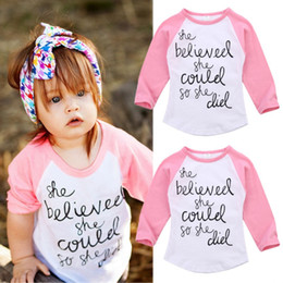 Wholesale Toddler Girls Cotton Shirts - 2017 Pink Long Sleeve White T-shirt Inspirational Letter Print Fashion Baby Girl Clothes Kid Clothing Cotton Toddler Top 2-7T Factory Tops