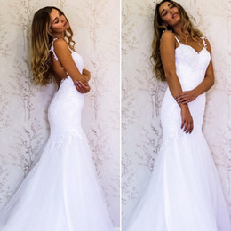 Wholesale Sweetheart Top Mermaid Dress - Sexy Mermaid Wedding Dresses Sweetheart Spaghetti Straps Appliques Satin Tulle Backless Wedding Gowns 2018 Newest Bridal Dresses Top Quality