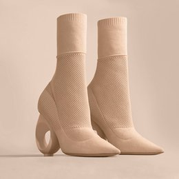 Wholesale Trendy Slip Shoes - Hollywood Sexy Pointy Ankle Boots Knitted Sock Style Slim Boots with Hole Strange Heel Trendy Design Plus Size Fashion Shoes WOmen
