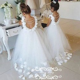 Wholesale Little Girls Backless Dress - 2017 Lovely Backless Flower Girls Dresses With Bubble Sleeves Pearls Tassels 3D-Floral Appliques Flowers Little Kids Dress Pageant Gown