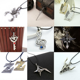 Wholesale Anime Wand - Wholesale- NEW Cardcaptor Sakura Card Captor Star Wand Japanese Anime Cosplay Game leather rope Sliver en Key Pendant Chain Necklace Gifts