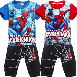 Wholesale Summer Outfits For Men - 2017 Baby Boys Clothing Sets Spider-Man 2Pcs Outfits Set Short Sleeve Tshirt+Haren Pants Childrens Clothing Summer Casual Clothes for 3-9T