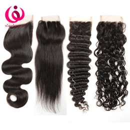 Wholesale Straight Bleached Lace Closure - 4x4 Lace Closure Brazilian Body Wave Straight Deep Kinky Curly Human Hair Closures Free Middle Three Part Bleached Konts