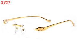 Wholesale Metal Buffalo - Luxury Brand Sunglasses For Women Gold Metal Frame Men Rimless Glasses 2017 Fashion Designer Spectacle Sunglasses Big Buffalo Sun Glasses