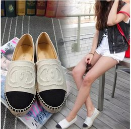 Wholesale Canvas Espadrilles Women - Famous Brand Women Espadrilles Top Quality Brand 2018 Real Lambskin Women Flat Shoes Comfortable casual loafers Size EUR35-42 with Box