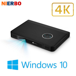 Wholesale Manual Window - Wholesale- 4K Projector LED HD Windows 10 Screenless Computer Smart Beamer Business Projectors Pocket Portable Office Home Theater Battery