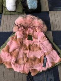 Wholesale Lined Army Green Jacket Women - Hot sale pink fur Mr Mrs itlay pink coyote fur lined mini army green parka snow coats sale Mr Mrs furs wolf fur jackets