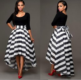 Wholesale Trendy Short Skirts - Two piece Party dress Women Trendy crew neck black tops Hi-Lo stripe pleated skirts Evening Cocktail Dress
