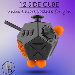 Wholesale Dice Funny - 12 Side Fidget Cube Anti Irritability Depression Desk Dice Funny strange Shape Creative Toy for Relax Office Classroom