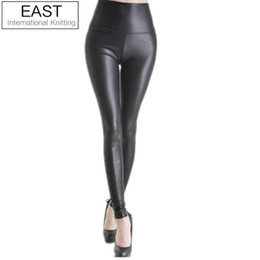Wholesale Sexy Women S Leather Pants - East Knitting Black women leggings faux leather high quality slim leggings plus size High elasticity sexy pants leggins