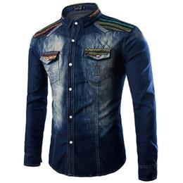 Wholesale Slim Fit Korea Shirt - Wholesale- Camiseta Masculina 2016 Korea Style Mens Slim Fit Denim Shirts Long Sleeve Cotton Shirts Tops for Male Chemise Homme