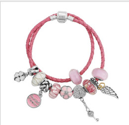 Wholesale pandora bracelet leather - 35-40cm 925 Sterling Silver Clasp Bead Original Stamp Double Layer Woven Leather Bracelet Fits Pandora Charms Bracelet DIY Fashion Jewelry
