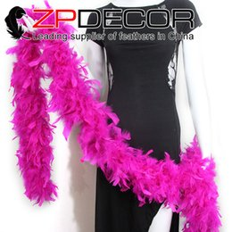 Wholesale Pink Feather Boas - ZPDECOR Feathers 80g 2yards lot Selected Prime Quality Turkey Chandelle Feather Boa Hot Pink For Prom Dress