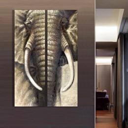 Wholesale 2pcs Set Wall Painting - Free Shipping 2pcs set Hand-painted Elephant Oil Painting Canvas wall art pictures for living room Mural Paintings