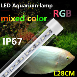 Wholesale Aquarium Led T8 - LED T8 tube Aquarium lamp,waterproof IP67,With 2.4g Remote Control,L28CM with white,mixed and RGB colors,Free of shipment